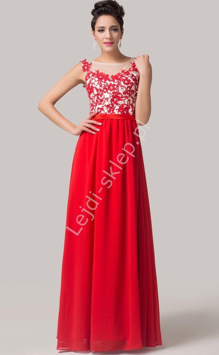 a4c42cfee4 Czerwona sukienka wieczorowa z gipiurą