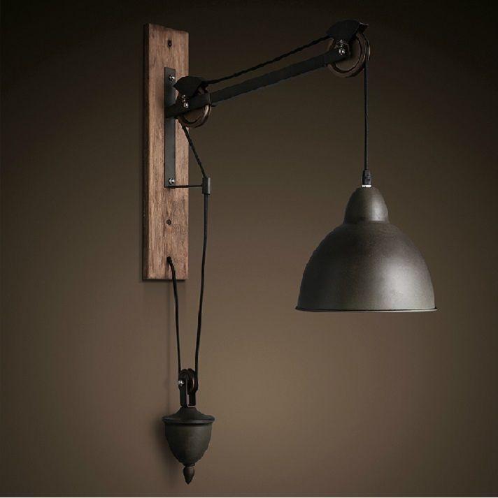 Industrial Decor Wall Lamp Sconce Cafe Light Iron Wood Pendant Retro Vintage