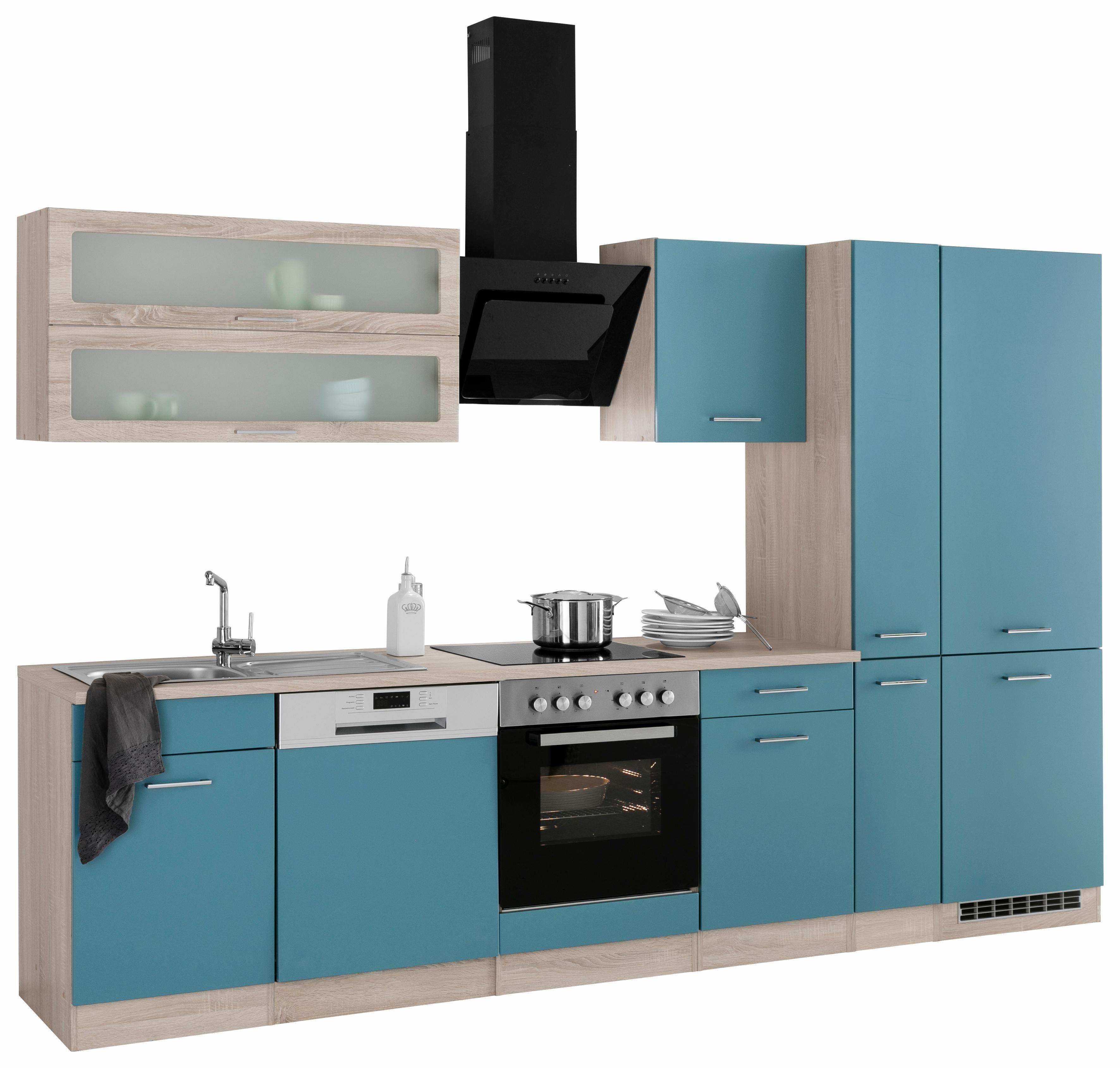 Küchenzeile mit EGeräten »Utah« blau, ohne Aufbauservice