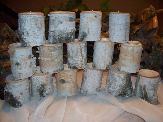 15  3' Birch candle holders Wedding decor Rustic by Northwoodswood, $44.00