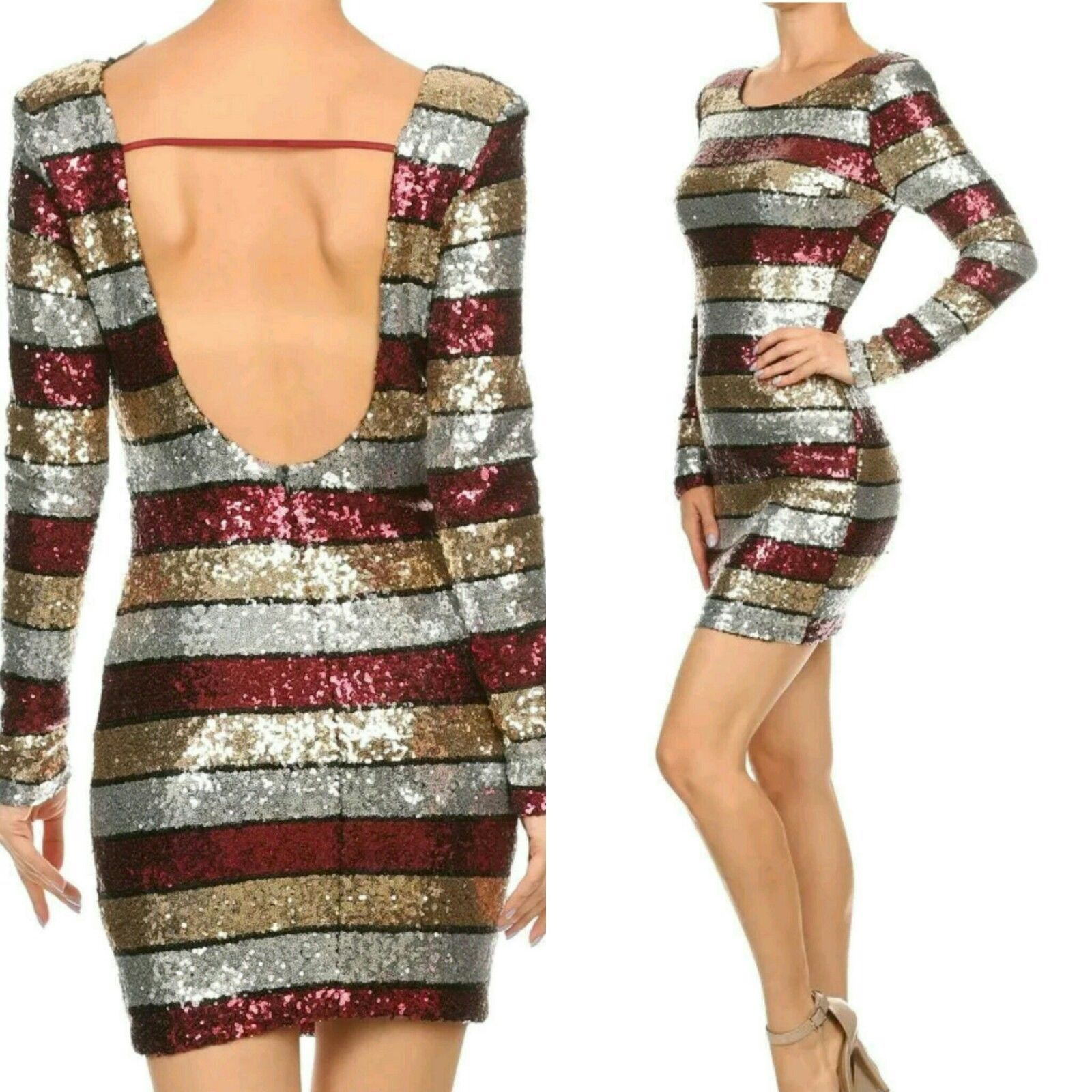 Nice awesome sequin long sleeve mini dress open back gold burgundy