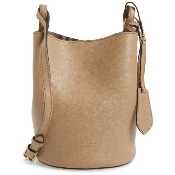 Women's Burberry Small Lorne Leather Bucket Bag (€715) ❤ liked on Polyvore featuring bags, handbags, shoulder bags, mid camel, beige shoulder bag, leather shoulder handbags, leather purses, structured leather handbags and camel leather purse