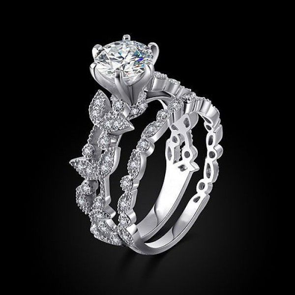 Round Cut Created White Shire Rhodium Plated 925 Sterling Silver Women S Wedding Ring Set Engagement