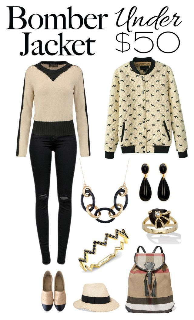 """Light Topping: Summer Bomber Jackets"" by karen-galves ❤ liked on Polyvore featuring J Brand, WithChic, Giambattista Valli, Chanel, Burberry, Eugenia Kim, Anne Sisteron, Palm Beach Jewelry, Belk & Co. and bomberjackets"