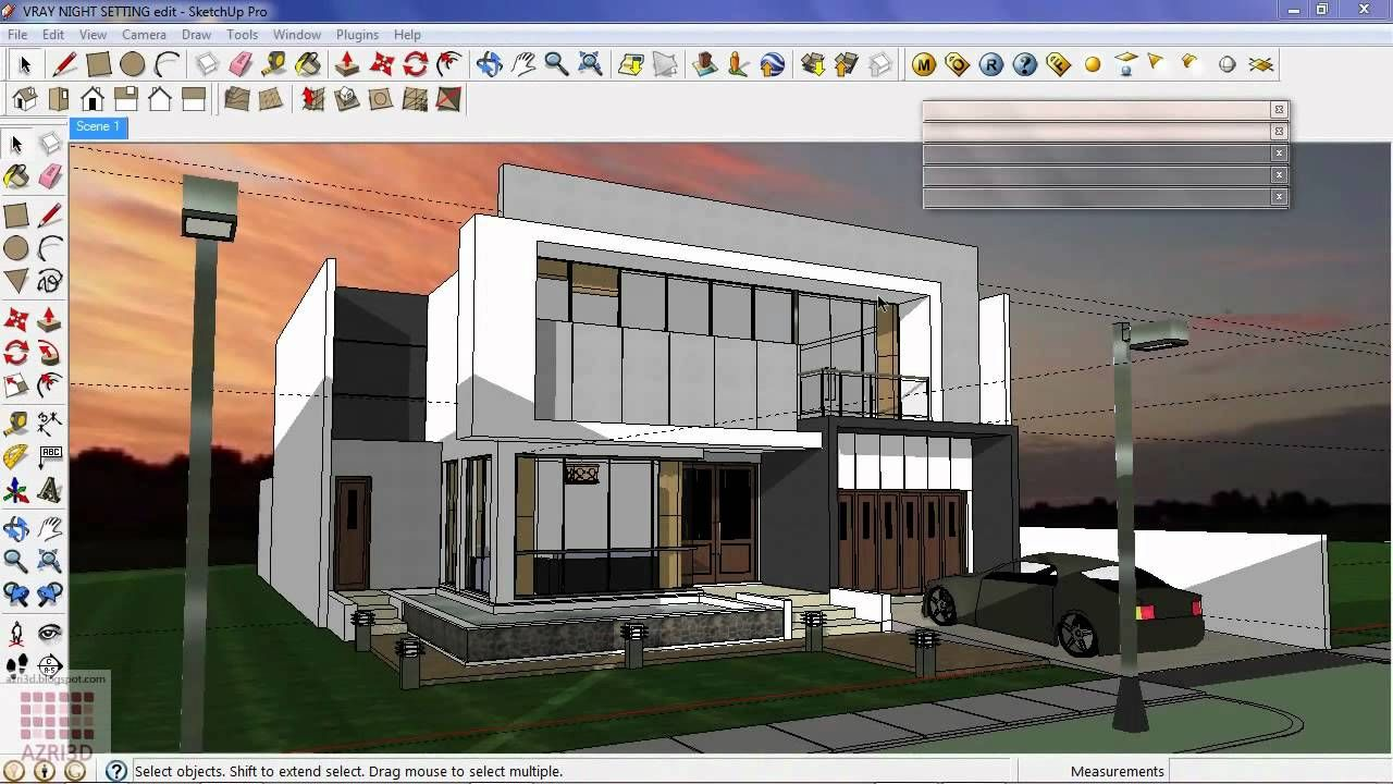 Google Sketchup Tutorial 16 Vray Exterior Night Scene Casas