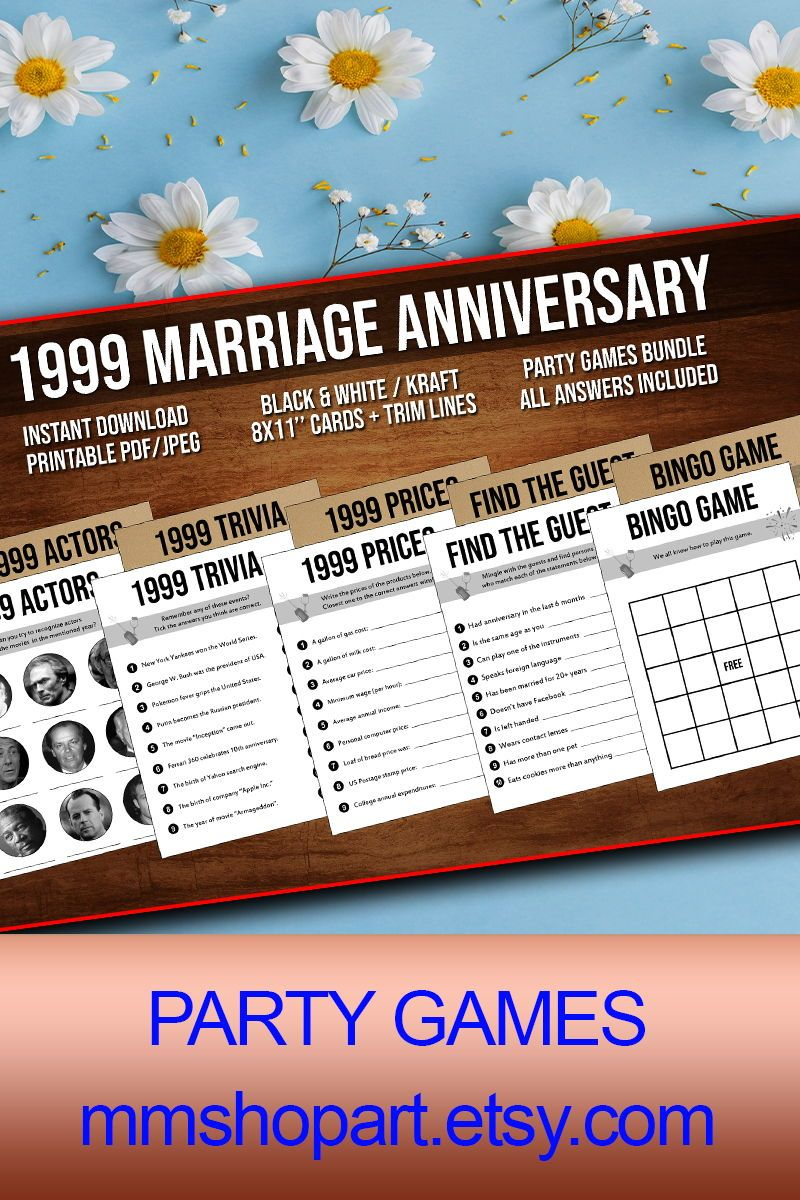 20th Anniversary Party Games Bundle, Married in 1999, 20th Wedding Anniversary Games Bundle, Golden Anniversary, 20 Years of Marriage Games #20thanniversarywedding