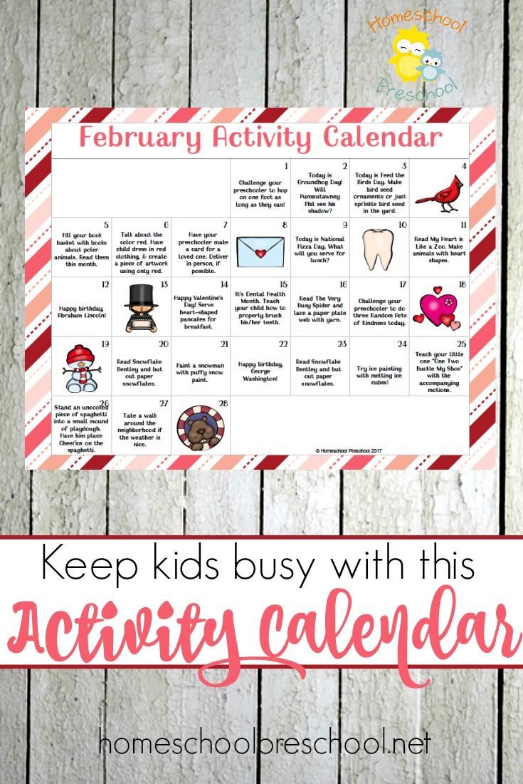 The Ultimate February Tot And Preschool Activity Calendar  Free