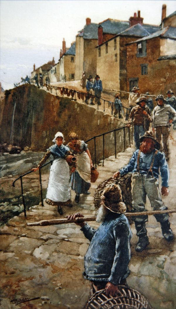 'The Quayside, Newlyn' (late 19th century) by Walter Langley (1852-1922). English painter and founder of the Newlyn School of plein air artists. Langley initially benefited little from the school's growing fame, partly because of his working-class origins and partly because until 1892 he painted largely in watercolor rather than the more prestigious medium of oils.
