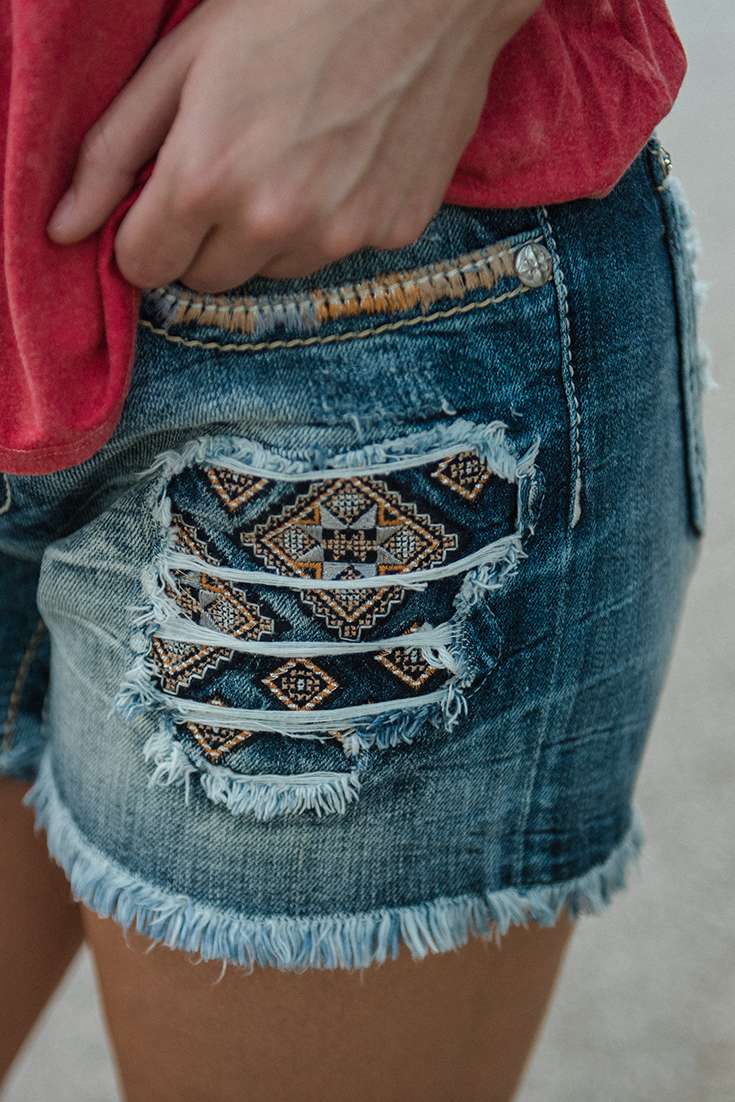 Miss Me Women's Medium Wash with Aztec Print Patches and ...