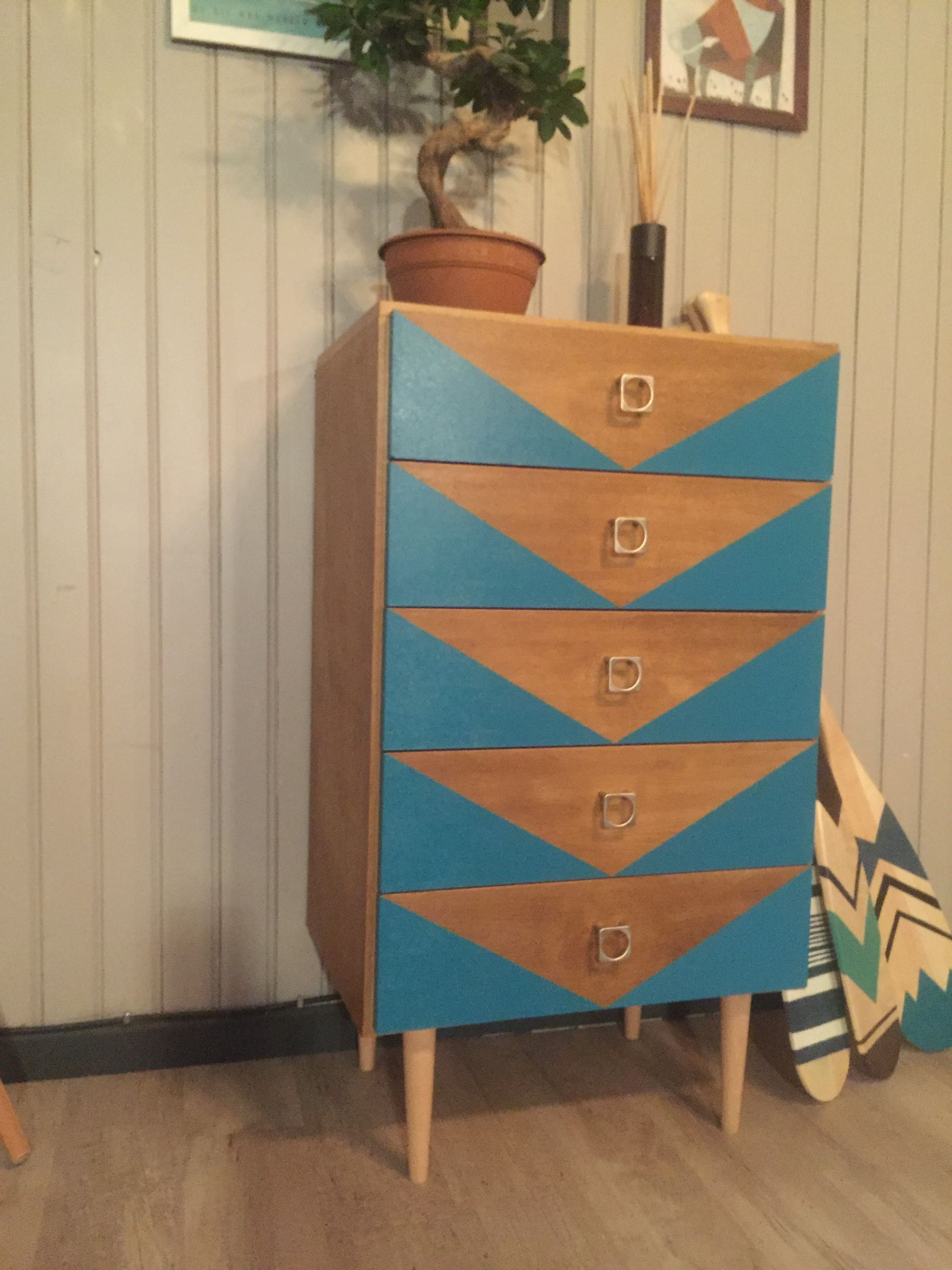 Petite Commode Vintage Relookee 3 4 Furniture Projects Pinterest