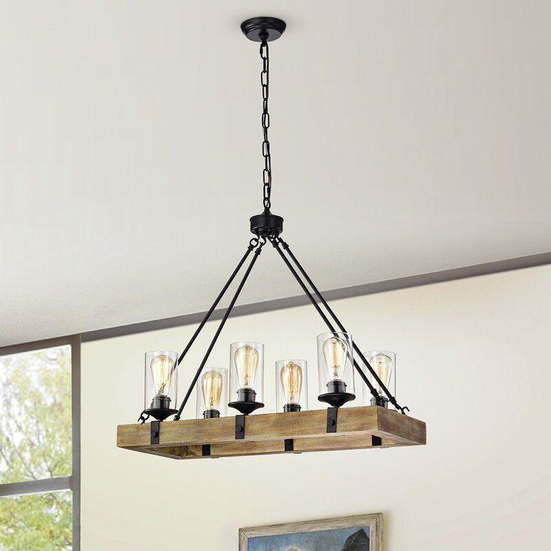 Erick Wood 6 Light Rectangle Chandelier In 2020 Rectangle Chandelier Wrought Iron Accents Rustic Farmhouse Lights