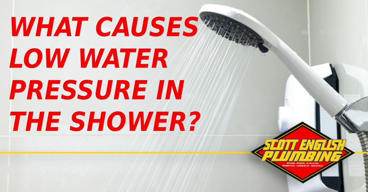 There are several different culprits behind low shower