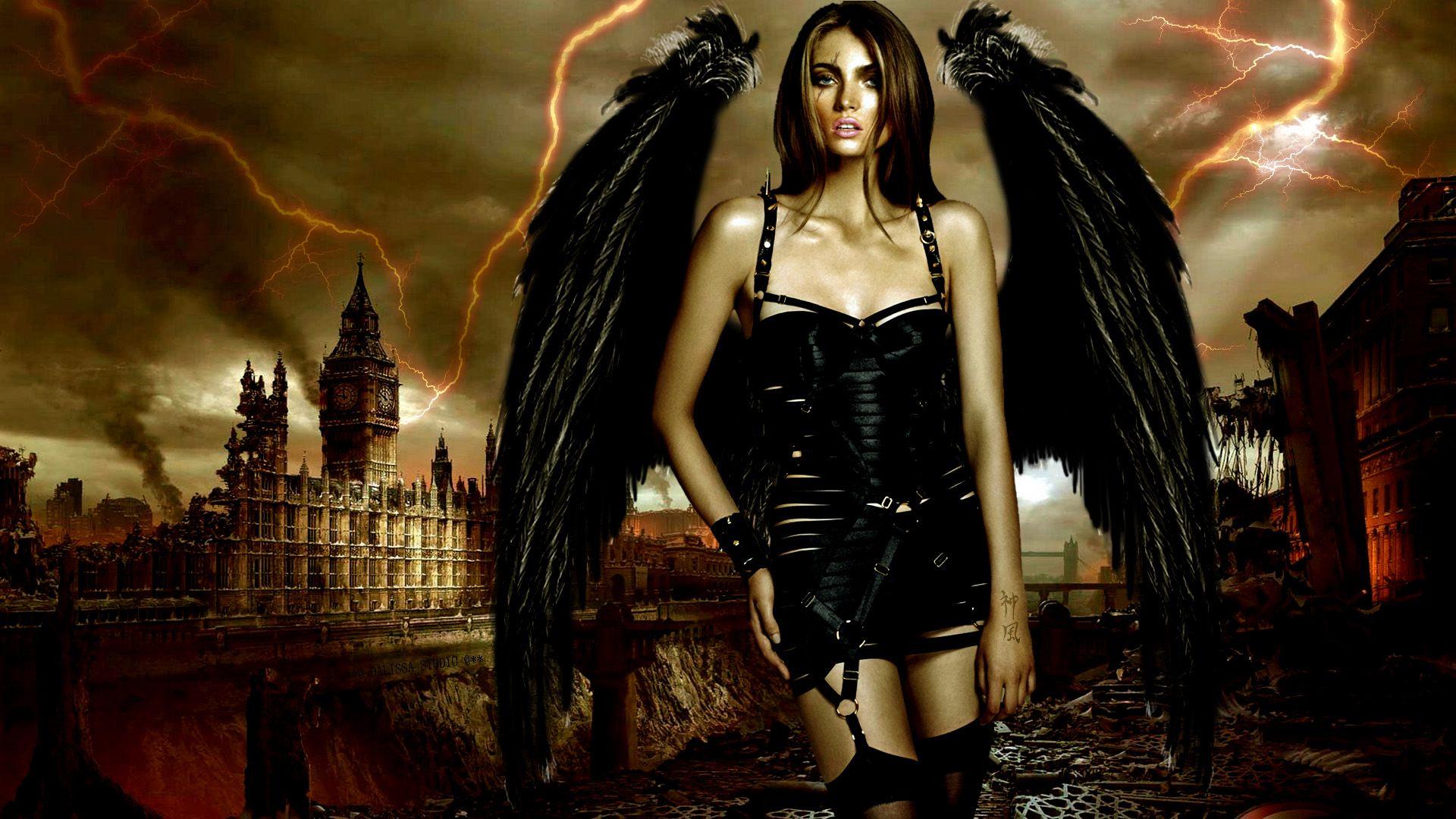 Sexy fallen angel wallpaper