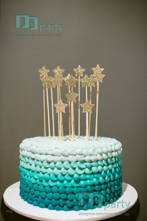 High Quality Gold Glitter Star Cake Toppers Party Picksar Cupcake