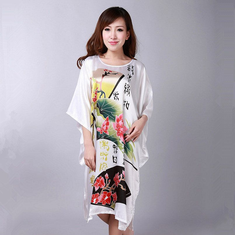 3597234216 Hot Sale White Chinese National Silk Nightdress Vintage Printed Lady Kimono  Robe Gown Sexy Lingerie Sleepwear