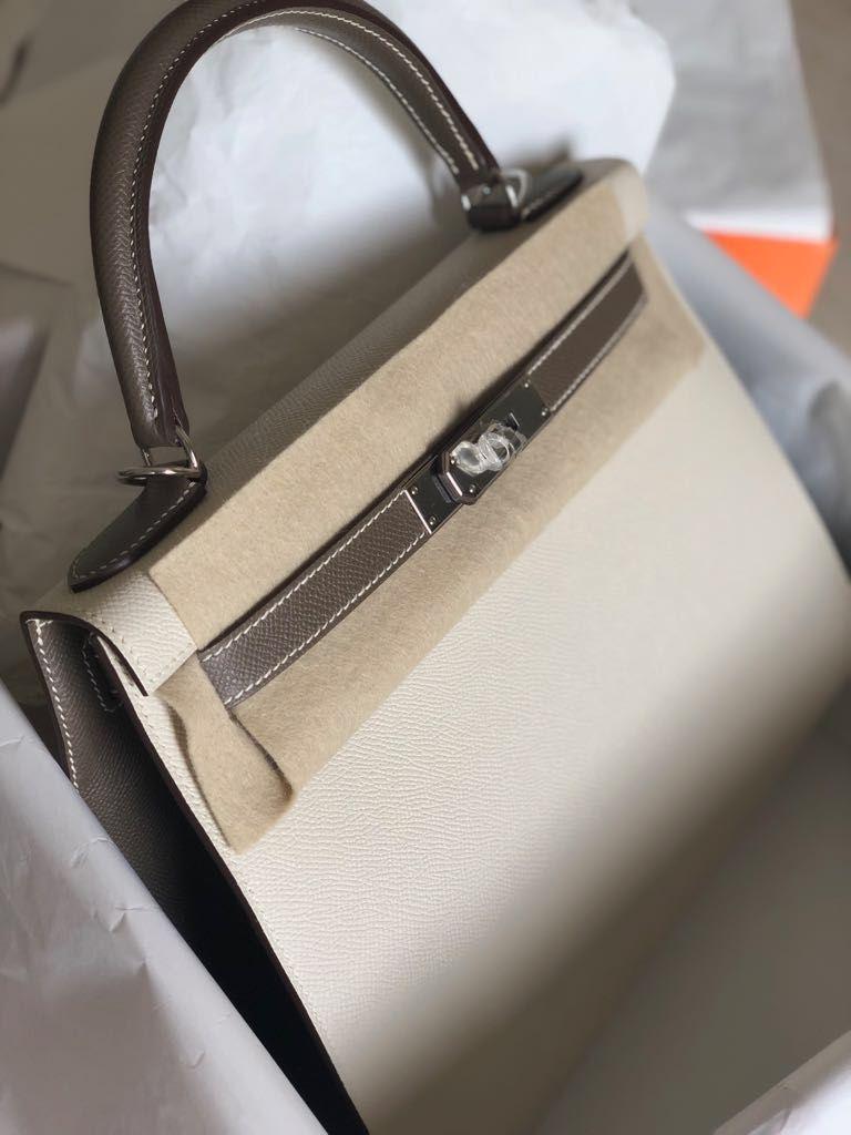 ff69a9ab46c9 Hermès Kelly HSS 28 Craie Etoupe Sellier Epsom Palladium Hardware PHW C  Stamp 2018