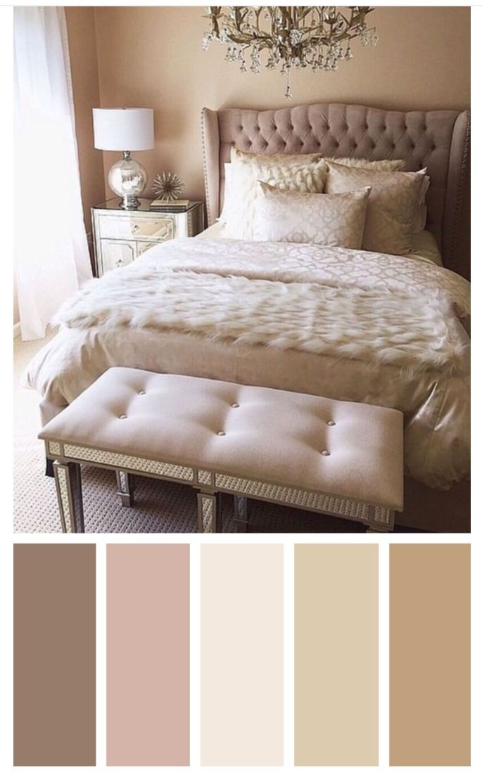 Metallic Finishes Steal The Show In This Classy Master Bedroom Silver Nightstands Flank The Beautiful Bedroom Colors Best Bedroom Colors Bedroom Color Schemes