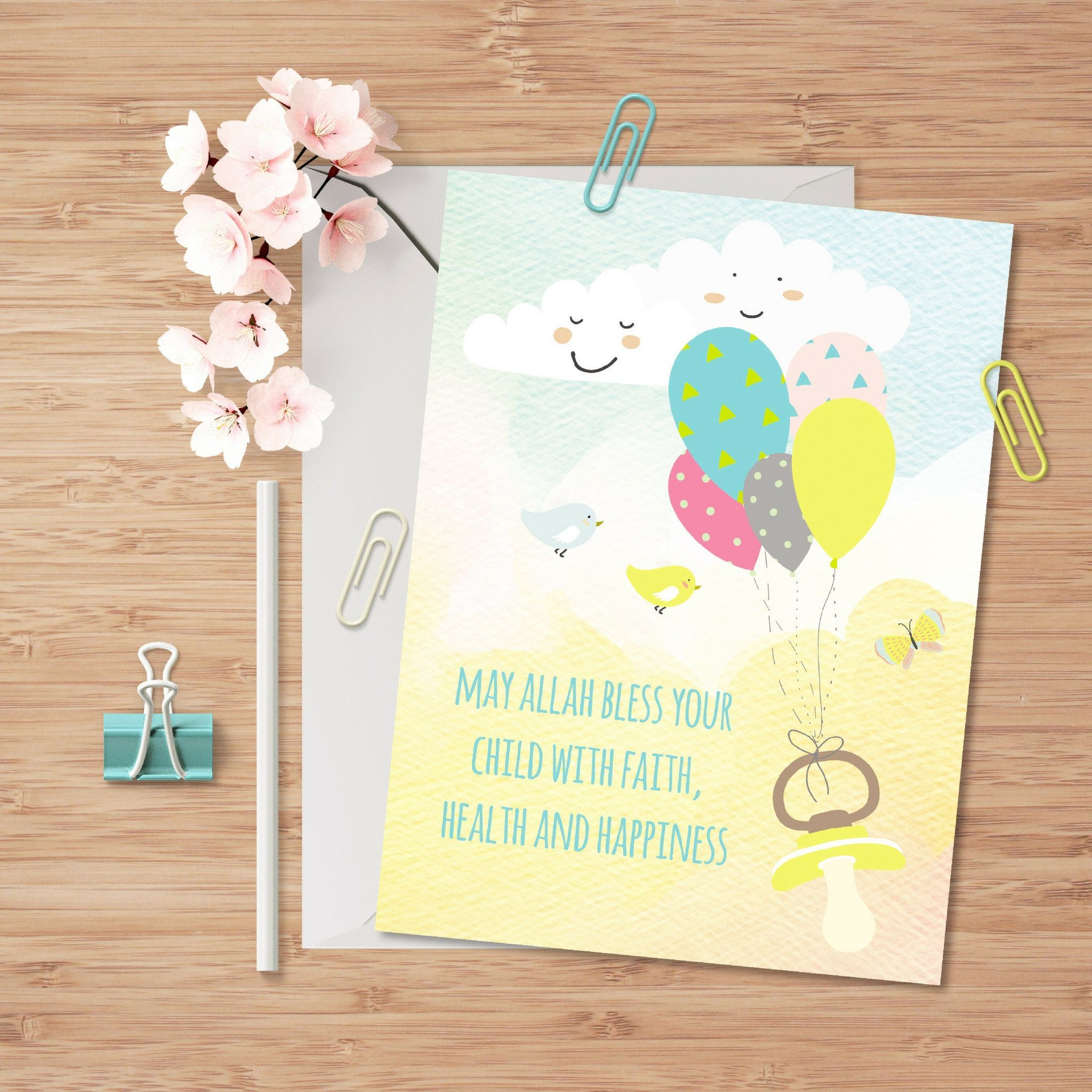 May allah bless your child greeting card for muslim babies muslim shop islamic greeting cards for musilm parents to congratulate them for new baby find all islamic occasion greeting cards from your muslim lifestyle store kristyandbryce Image collections