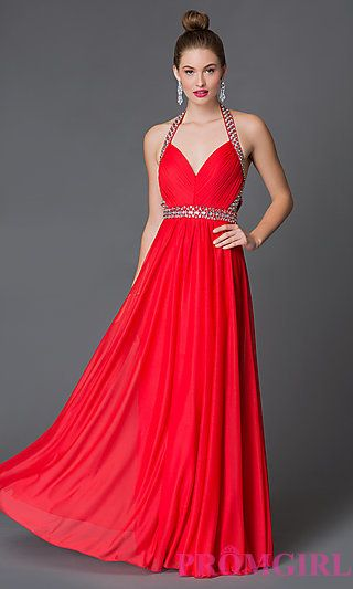 Red Floor Length Halter Prom Dress With Jewel Detailing By Sequin