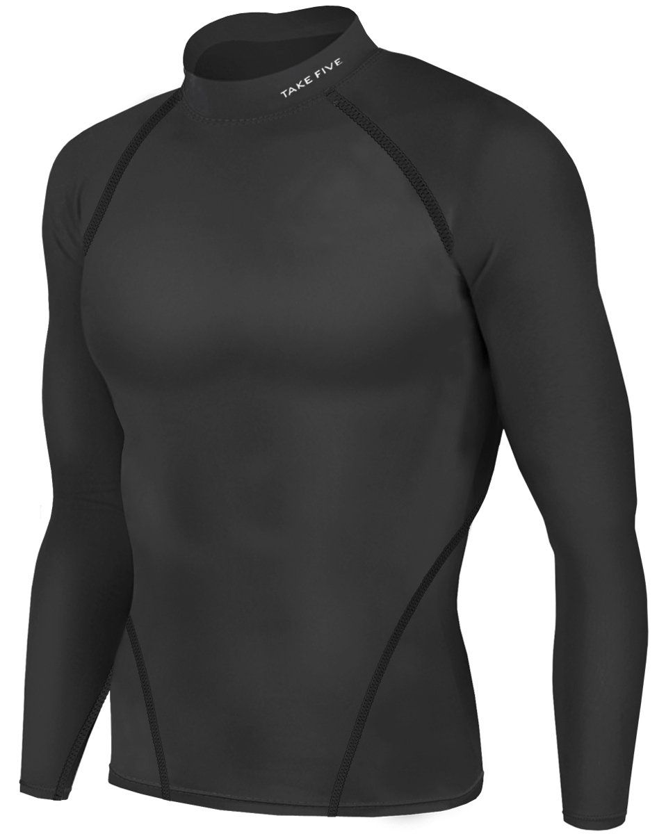 New Men Athletic Apparel Long Sleeves Shirts Skin Tights Compression Base  Under Layer Top (XL, NT012 BLACK)