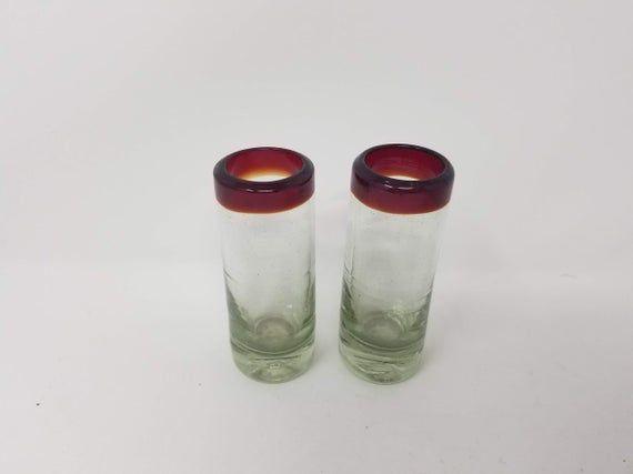 2 Hand Blown Shot Glasses – Red Rim Rim