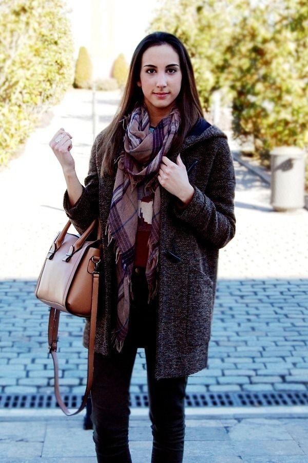 Grey coat, plaid scarf, brown bag