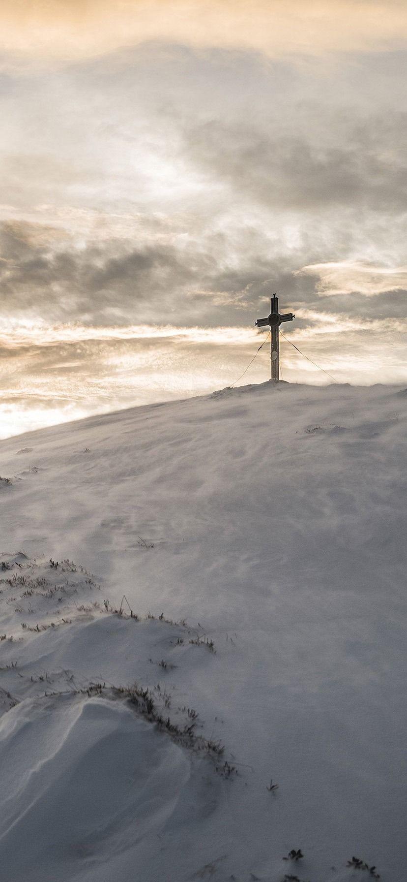 iPhone XR Wallpaper Cross Mountain Snow Winter White
