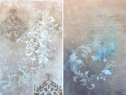 Muted background with soft stencils fading in and out.