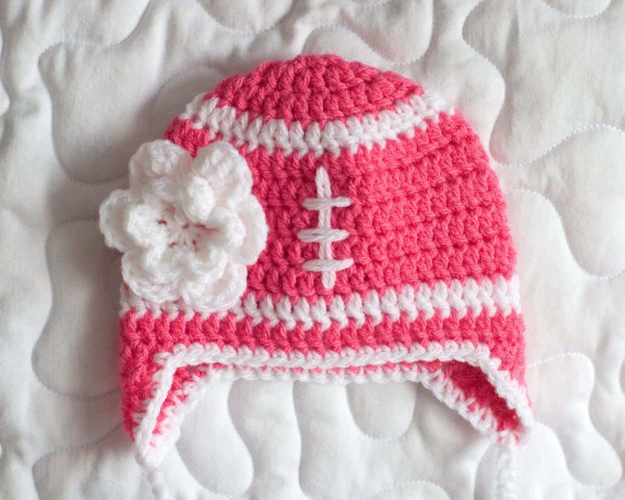 FOOTBALL BABY GIRL, Crochet Football Hat, Baby Girl Football Hat ...