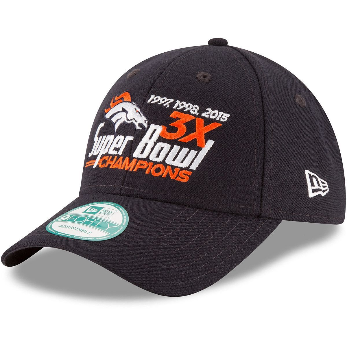 dd3584ad0 NFL Denver Broncos New Era Super Bowl 50 Champions 3-Time Champions 9FORTY Adjustable  Hat