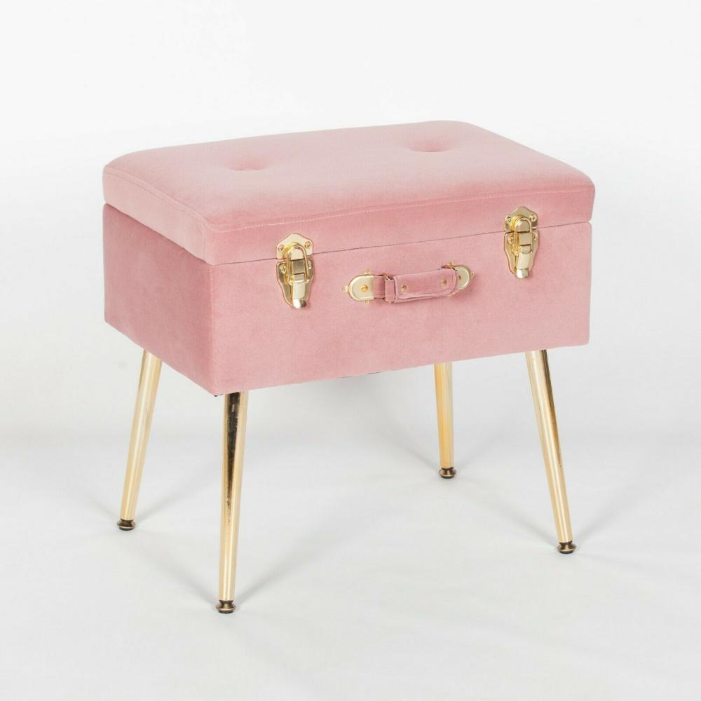 Amour Pink Velvet Gold Legs Upholstered Vanity Suitcase