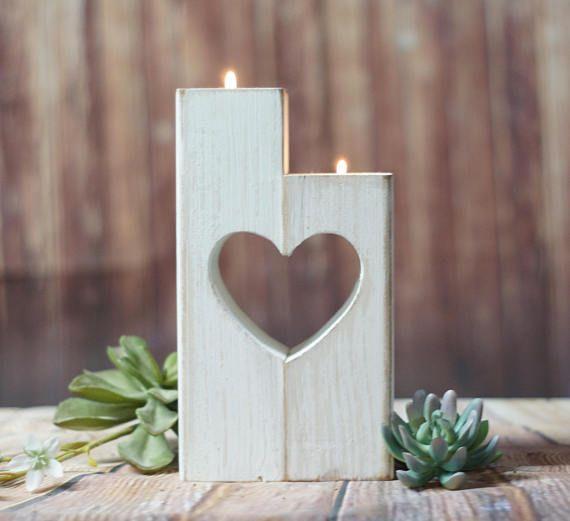 Herz Ausschneiden Kerzenhalter Weiss Holz Kerze Valentinstag Holz
