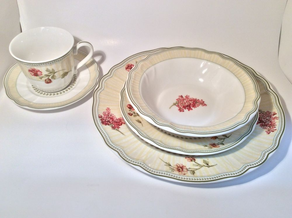 Fleur De Provence 5 PC Place Setting Epoch Collection by Noritake : epoch collection dinnerware - pezcame.com