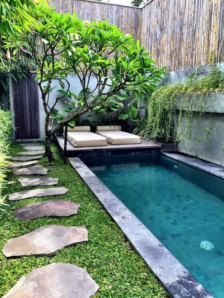 35 Amazing Small Backyard Designs Ideas With Swimming Pool 2 Lingoistica Com Garden Pool Design Small Backyard Design Small Backyard Landscaping