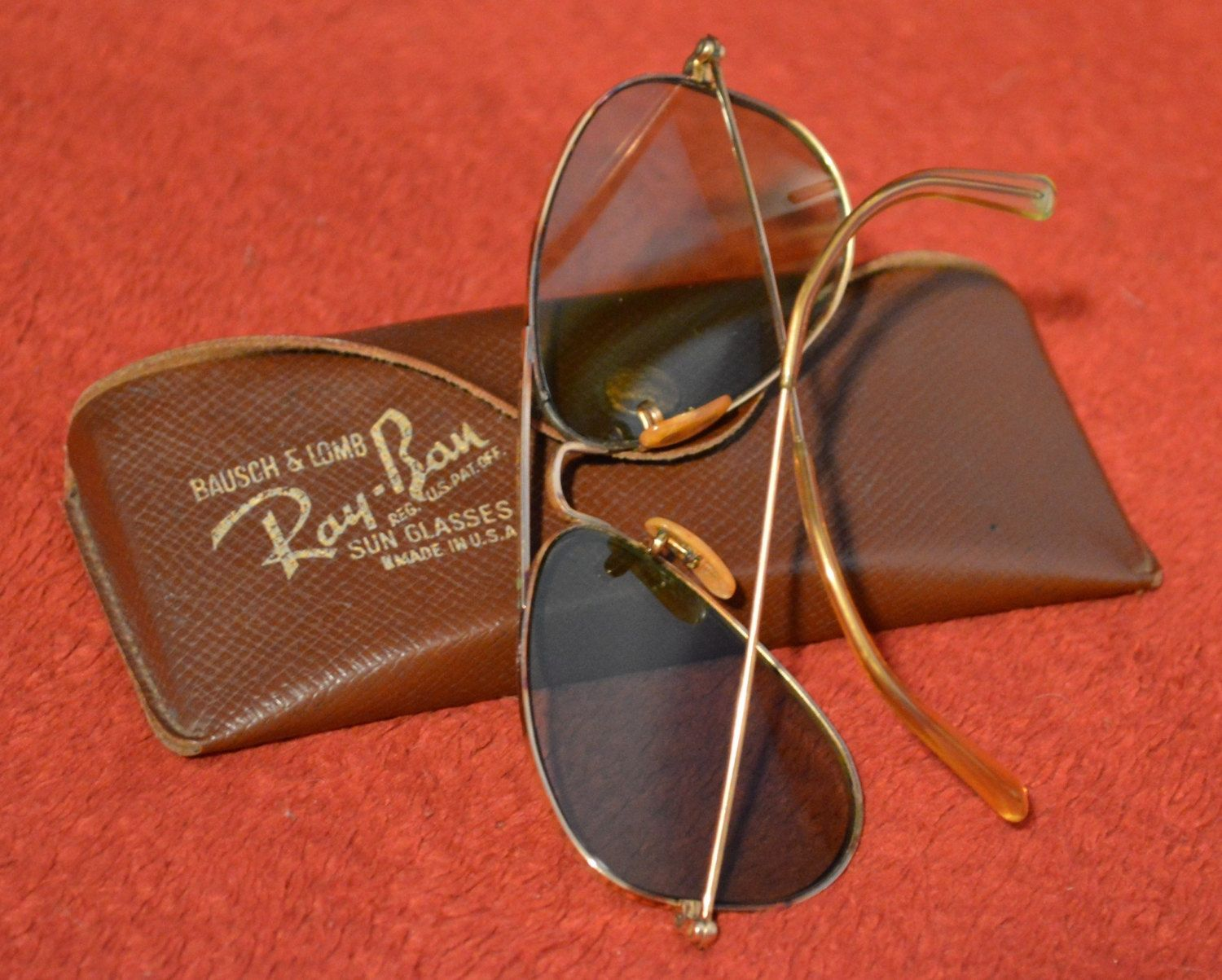 a1dd56b4588 Vintage Bausch and Lomb Ray Ban Aviator Sunglasses 12 K GF with Case.   229.99