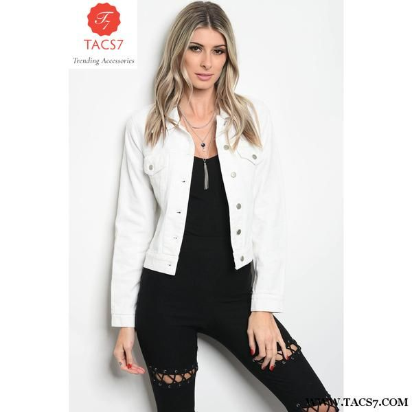 2874b438343 Ladies Fashion Long Sleeve White Copped Denim Jacket That Features Dragon  Embroidered Details Along The Back