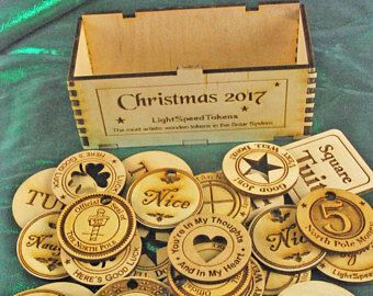 25 Asst. Wooden Tokens with Collector's Wooden Box – Christmas Tokens