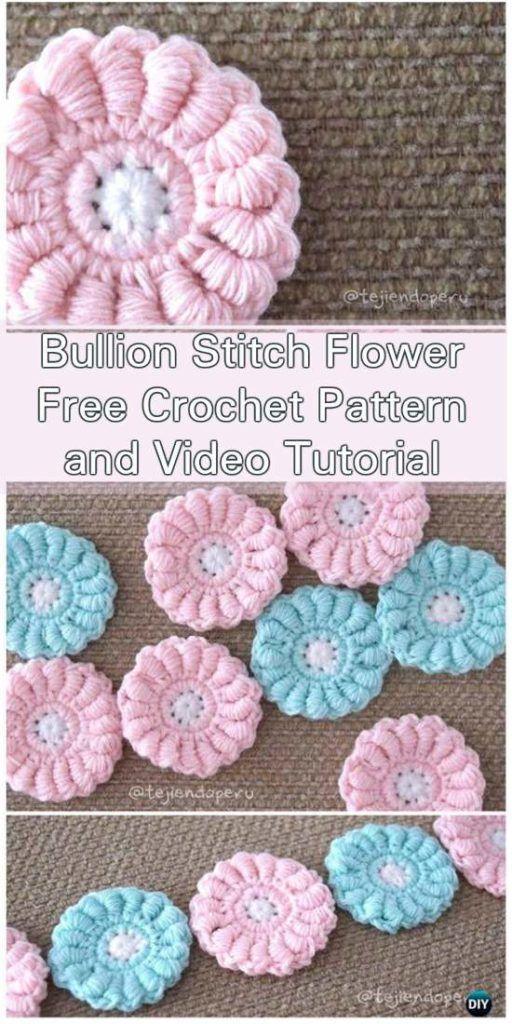Bullion Stitch Flower - Free Crochet Pattern and Video Tutorial ...