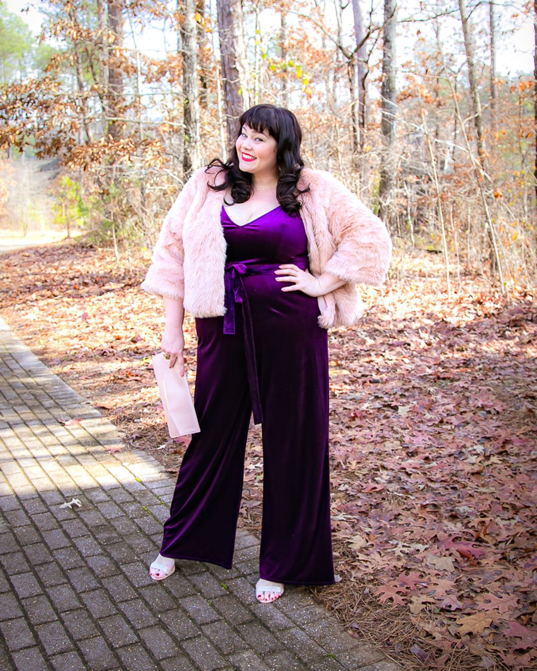 73f45e476599 The CUTEST purple velvet jumpsuit! Paired with a pink faux fur jacket