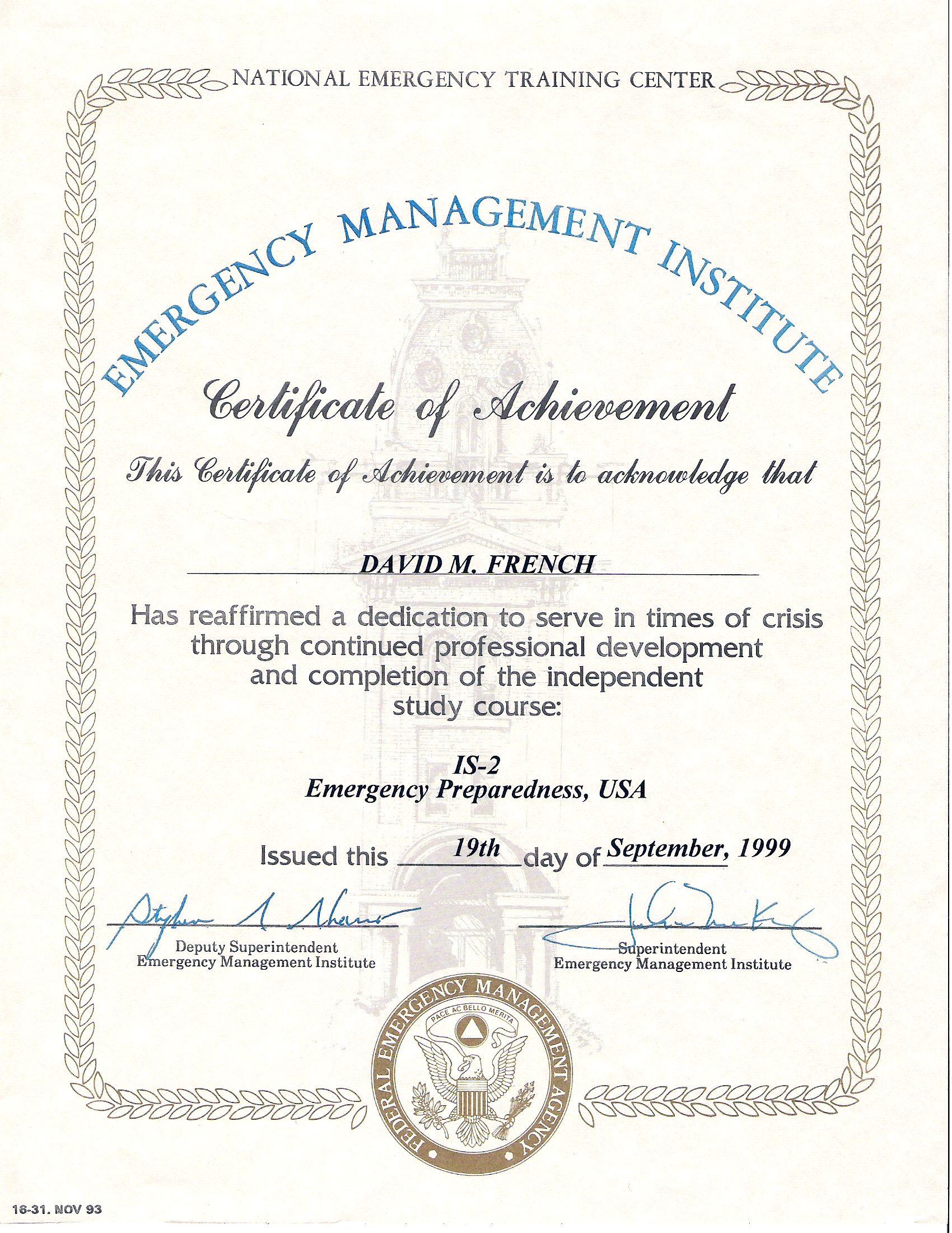 Is 00002 Emergency Preparedness Usa Cert 2 Fema Certificates