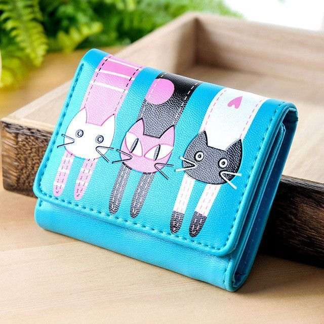 Women Wallets Lovely Purse Cats Print 3 Fold Leather Wallet Mini Card Holder Purse Girls Zipper Multiple Id Cards New Brand