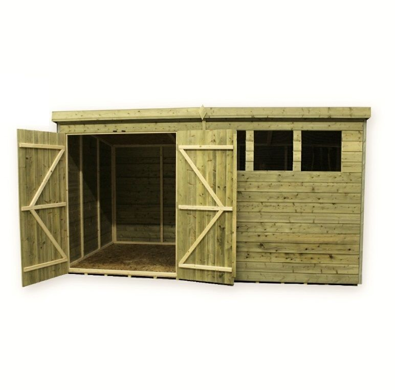 wooden garden shed 10x4 12x4 14x4 pressure treated tongue and groove pent shed - Garden Sheds Workshops