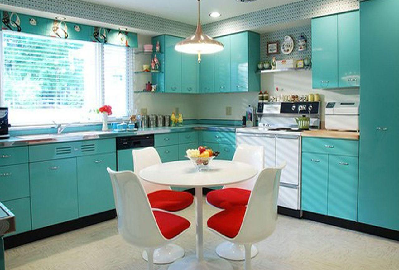 Turquoise Red Kitchen Decor Ideas - Restaurant Interior Design Drawing •