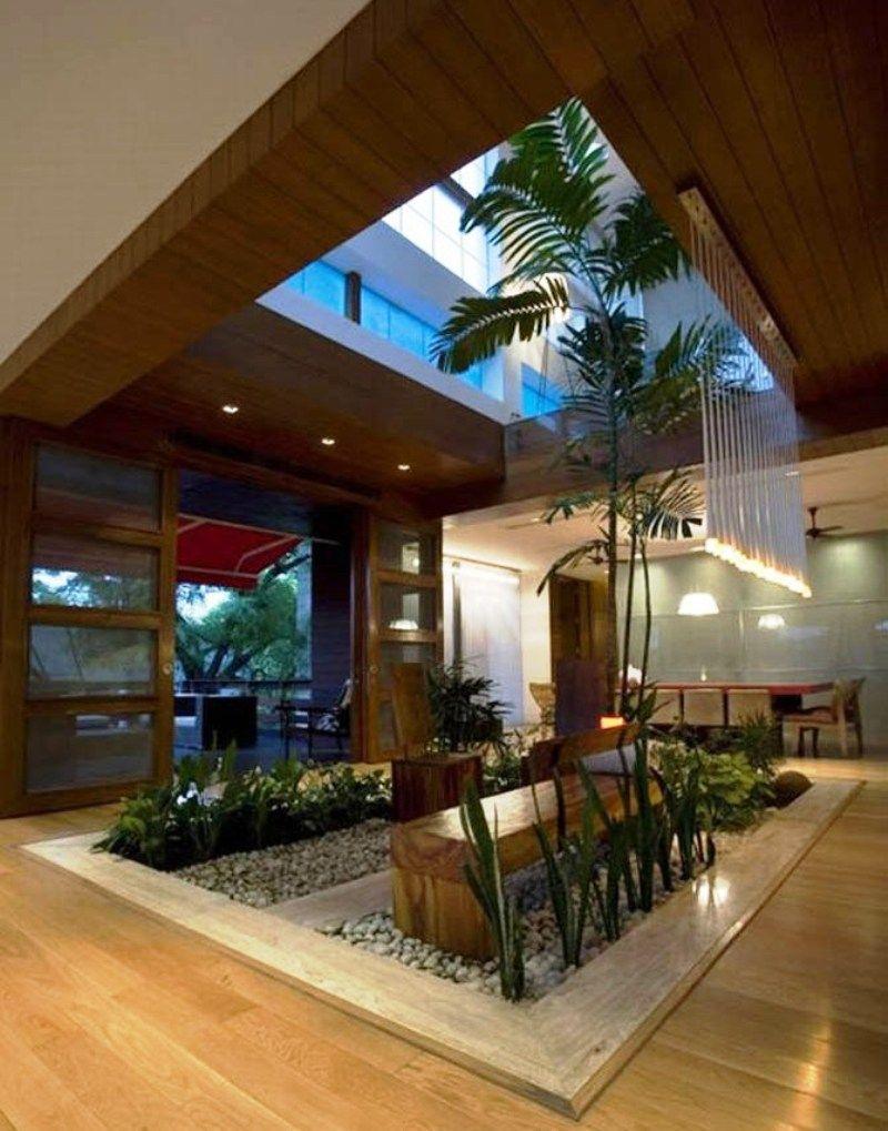 Contemporary Luxury House Designs Interior Open Roof Indoor Garden