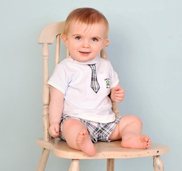 Plaid baby boy set: white shirt with inwrought tie + plaid shorts/ Boys outfit in British style