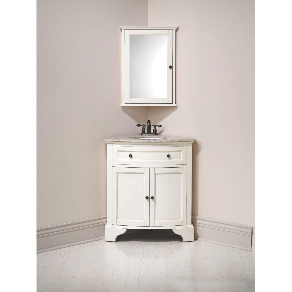 Home Decorators Collection Hamilton 31 In W X 23 In D Corner Bath Vanity In Ivory With Granite Vanity Top In Grey 10809 Cs30h Dw The Home Depot In 2021 Corner Sink Bathroom