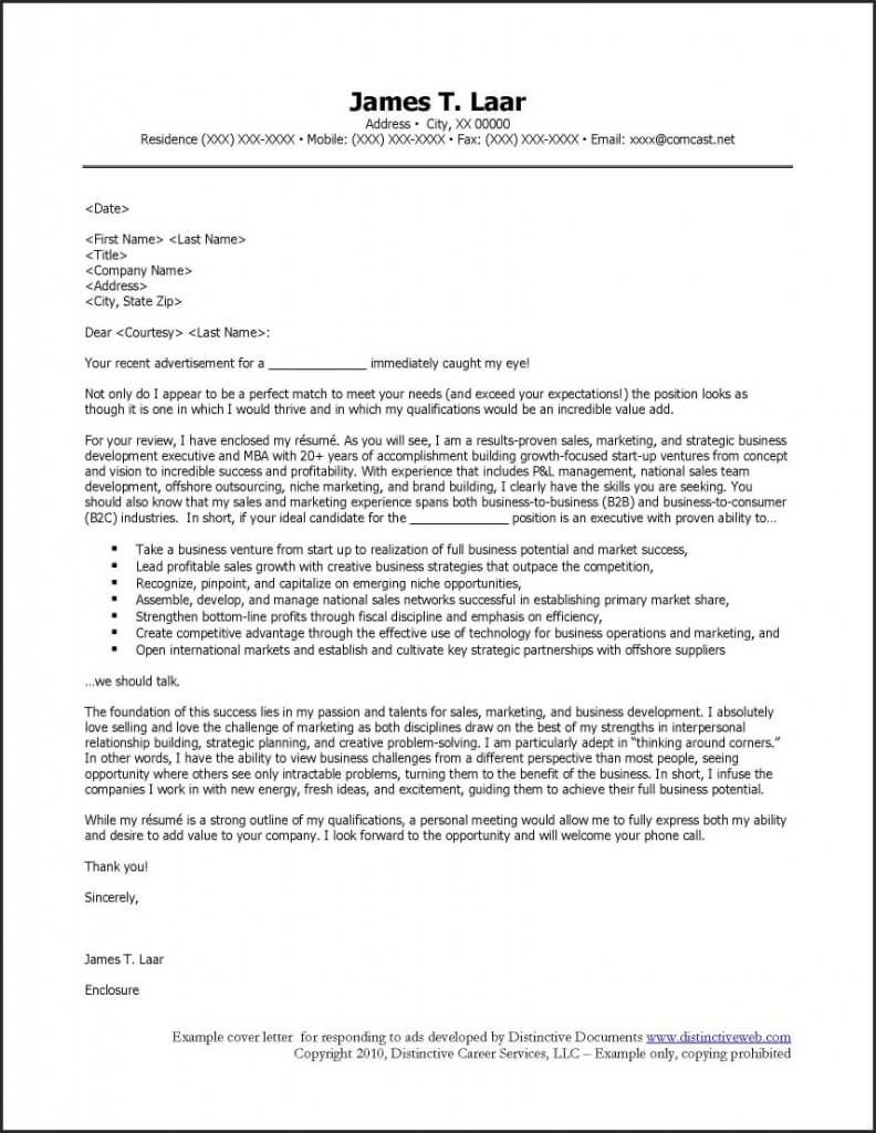 Cover Letter Respond Job Ads Example For Responding  Job Search