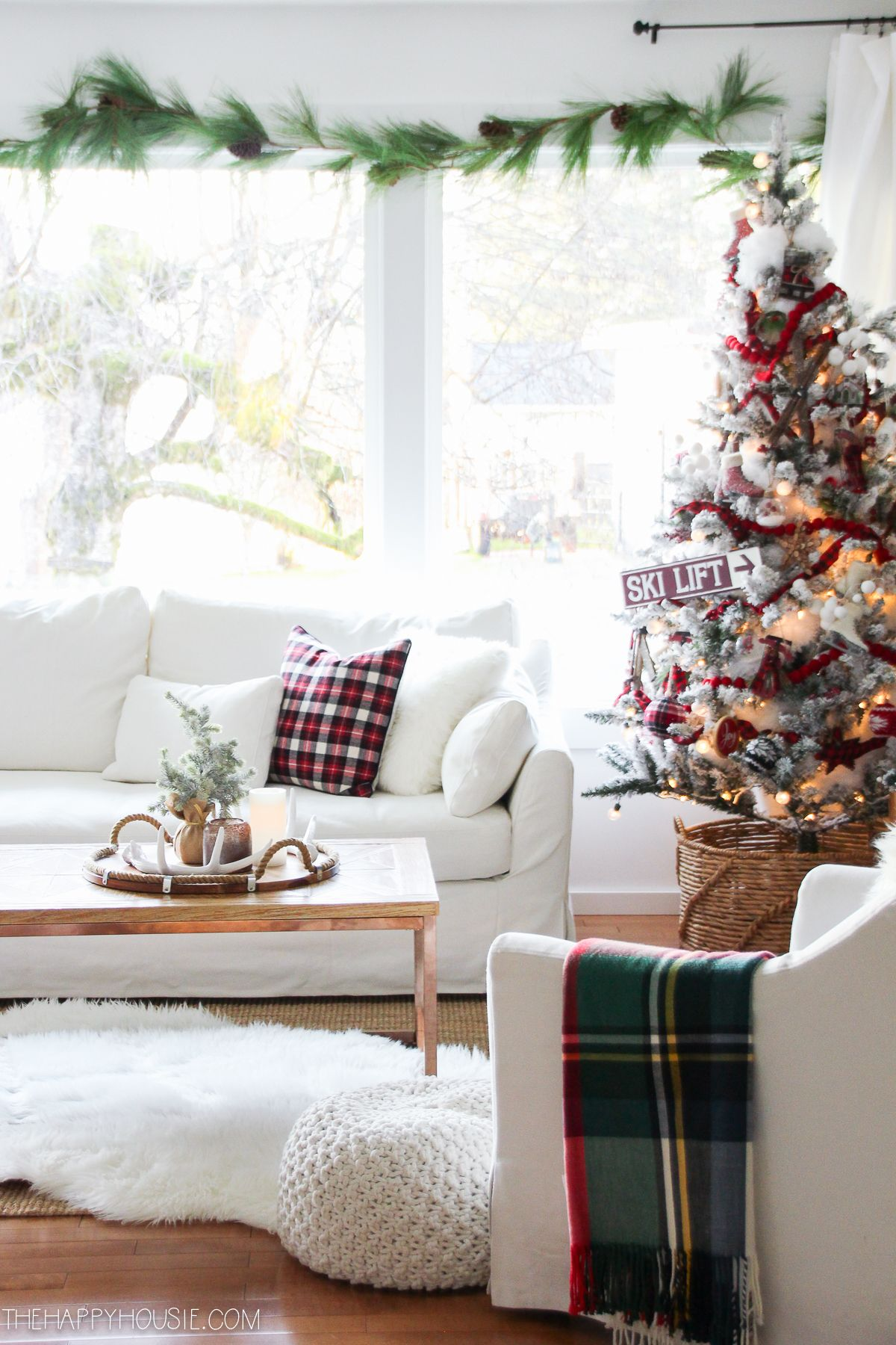 Red White Christmas Decorating New Living Room Tour The Happy Housie Christmas Decorations Living Room Christmas Living Rooms Holiday Living Room Living room holiday decor
