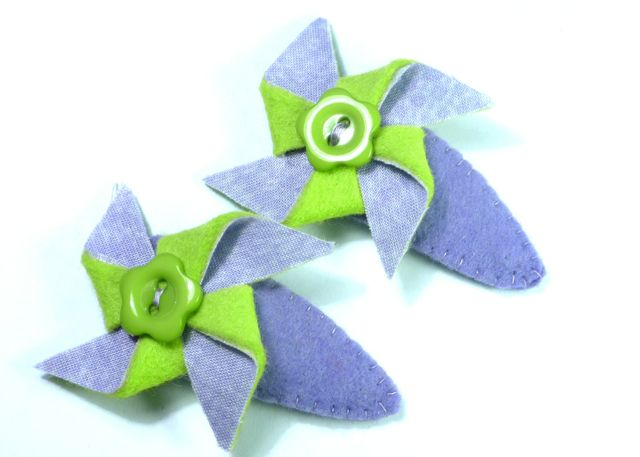 Lime and lavender felt hair clips with pinwheels