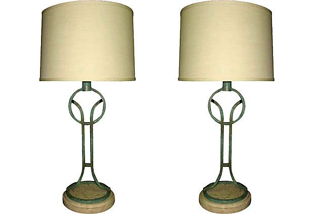 Travertine Metal Lamps, Pair